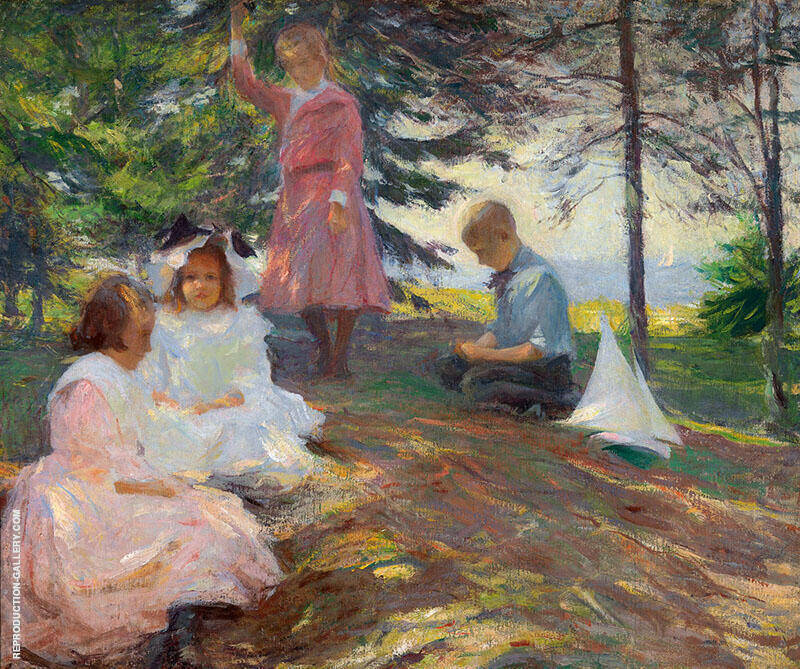 Four Children at North Haven c1903 Painting By Frank Weston Benson