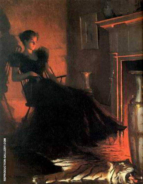 By Firelight 1880 By Frank Weston Benson Replica Paintings on Canvas - Reproduction Gallery