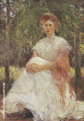 Eleanor in the Pines, 1906 Painting By Frank Weston Benson