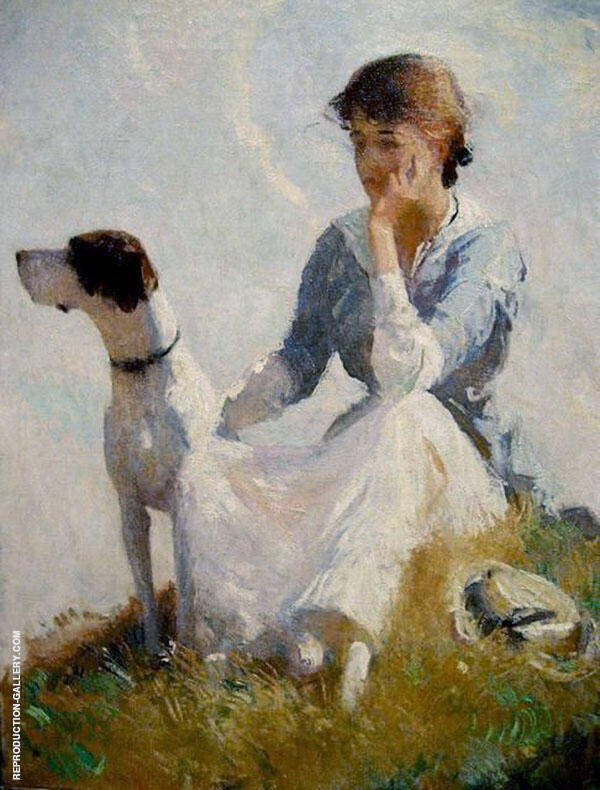 Girl with a Dog 1914 Painting By Frank Weston Benson