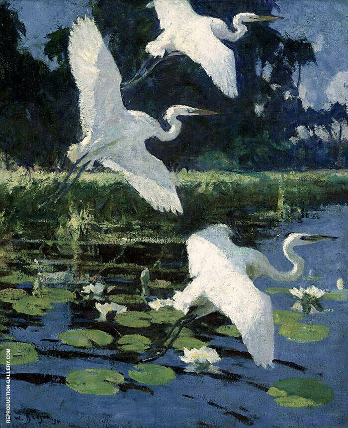 Herons and Lilies 1934 By Frank Weston Benson Replica Paintings on Canvas - Reproduction Gallery