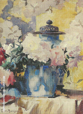 Peonies in Blue China 1923 By Frank Weston Benson - Oil Paintings & Art Reproductions - Reproduction Gallery