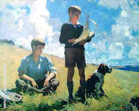 Two Boys 1926 By Frank Weston Benson Replica Paintings on Canvas - Reproduction Gallery