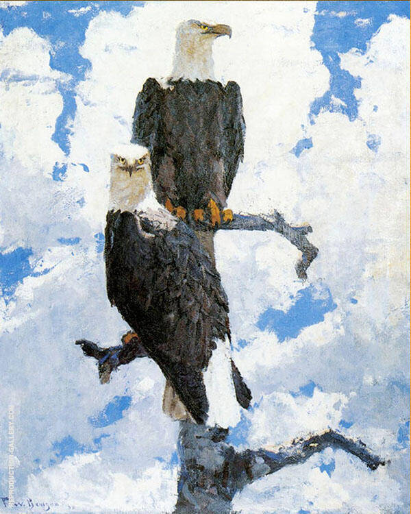 Two Eagles on a Branch 1930 Painting By Frank Weston Benson
