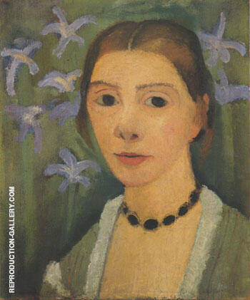 Reproduction of Self Portrait with Green Background and Blue Irises 1905 by Paula Modersohn-Becker | Oil Painting Replica On CanvasReproduction Gallery