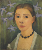 Self Portrait with Green Background and Blue Irises 1905 By Paula Modersohn-Becker