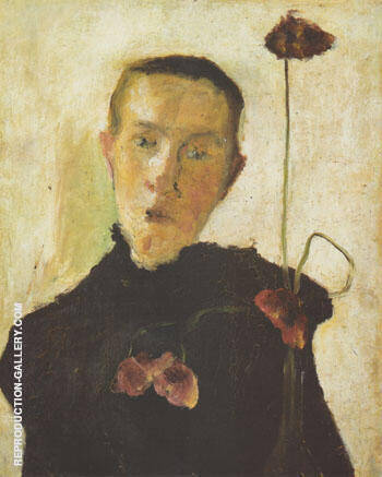 Woman with Poppy 1898 By Paula Modersohn-Becker