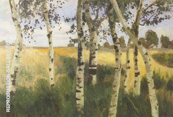 Birch Trees and Cornfield 1869-1909 By Paula Modersohn-Becker - Oil Paintings & Art Reproductions - Reproduction Gallery