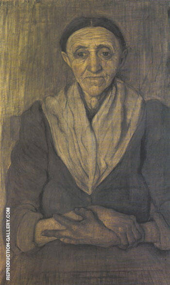 Old Woman Sitting with her Hands in her Lap 1899 By Paula Modersohn-Becker - Oil Paintings & Art Reproductions - Reproduction Gallery