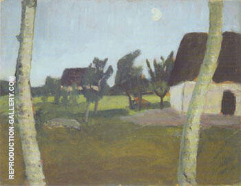 House Birch Trees and Moon 1902 By Paula Modersohn-Becker