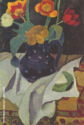Still Life with Tulips 1907 By Paula Modersohn-Becker