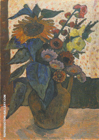 Still Life with Sunflowers 1907 By Paula Modersohn-Becker
