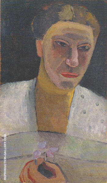 Lee Hoetger with a Flower 1906 By Paula Modersohn-Becker - Oil Paintings & Art Reproductions - Reproduction Gallery