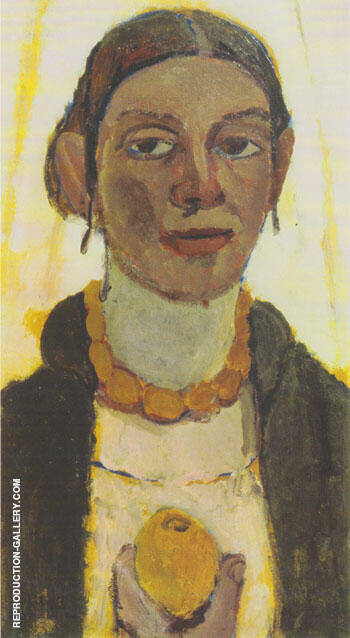 Self Portrait with Lemon 1906/7 Painting By Paula Modersohn-Becker