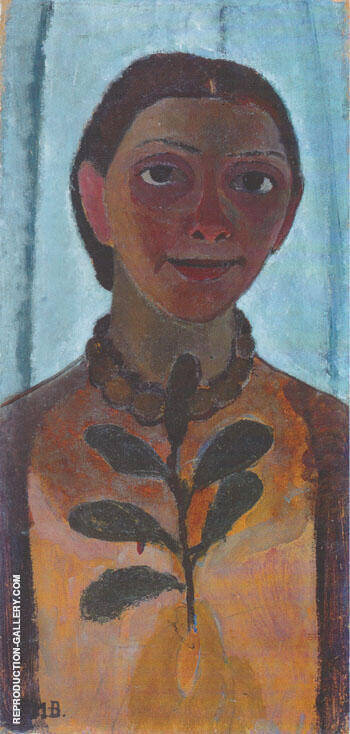 Reproduction of Self Portrait with Camellia Branch 1907 by Paula Modersohn-Becker | Oil Painting Replica On CanvasReproduction Gallery