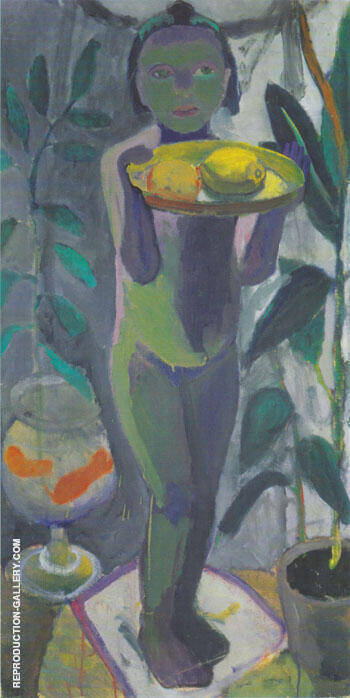 Nude Girl with Goldfish Bowl 1906/7 Painting By Paula Modersohn-Becker