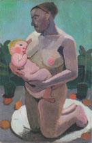 Kneeling Mother and Child 1906 By Paula Modersohn-Becker