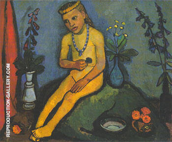Nude Girl with Flower Vases 1906/7 By Paula Modersohn-Becker