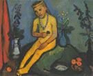 Nude Girl with Flower Vases 1906/7 By Paula Modersohn-Becker
