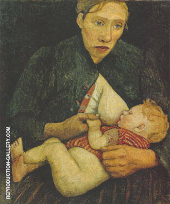 Nursing Mother 1903 By Paula Modersohn-Becker - Oil Paintings & Art Reproductions - Reproduction Gallery