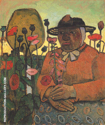 Old Woman from the Poorhouse in the Garden with a Glass Ball Poppies 1907 By Paula Modersohn-Becker