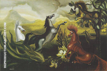 The Horses of Lord Candlestick 1938 By Leonora Carrington - Oil Paintings & Art Reproductions - Reproduction Gallery
