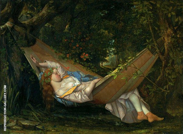 The Hammock 1844 Painting By Gustave Courbet - Reproduction Gallery