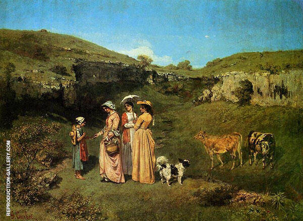 Young Ladies of the Village c 1851-52 By Gustave Courbet