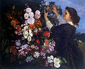 The Trellis or Woman with Flowers 1862 By Gustave Courbet