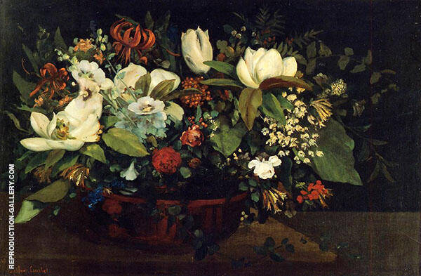 Basket of Flowers 1863 Painting By Gustave Courbet - Reproduction Gallery