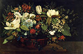 Basket of Flowers 1863 By Gustave Courbet
