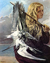 The Girl with Seagulls Trouville 1865 By Gustave Courbet