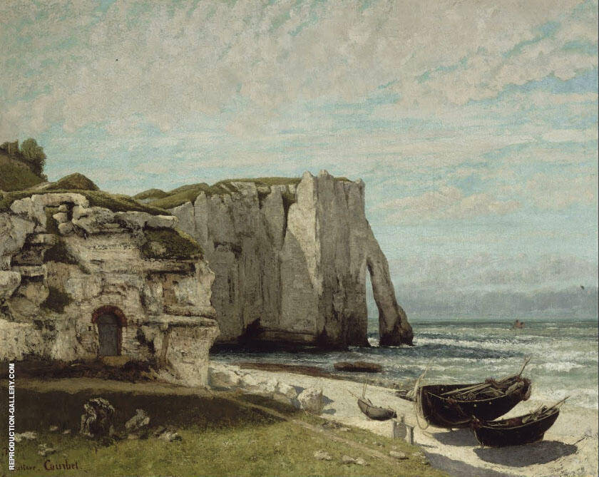 The Cliff at Etretat at the Storm c1869 Painting By Gustave Courbet