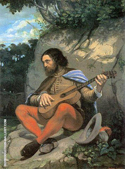 The Guitar Player 1845 Painting By Gustave Courbet - Reproduction Gallery