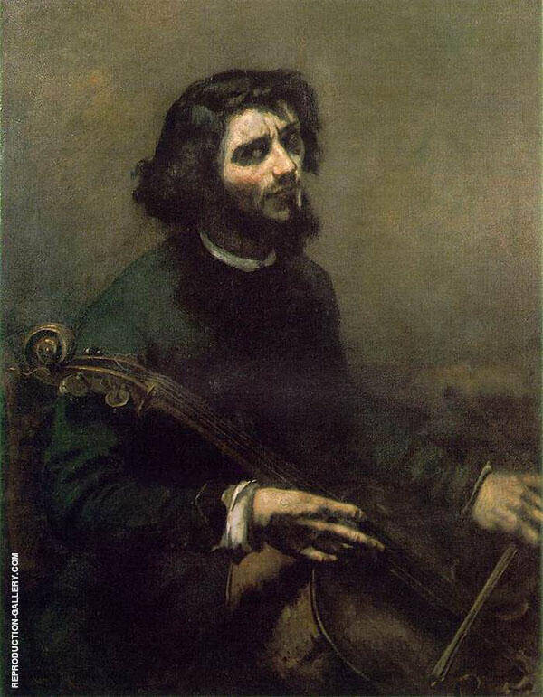 The Cellist 1847 Painting By Gustave Courbet - Reproduction Gallery