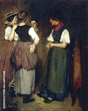 Three Sisters The Stories of Grandmother Salvan ca.1846-47 By Gustave Courbet Replica Paintings on Canvas - Reproduction Gallery