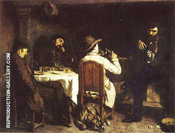 After Dinner at Ornans 1848-49 Painting By Gustave Courbet