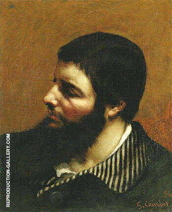 Self Portrait with Striped Collar 1854 Painting By Gustave Courbet