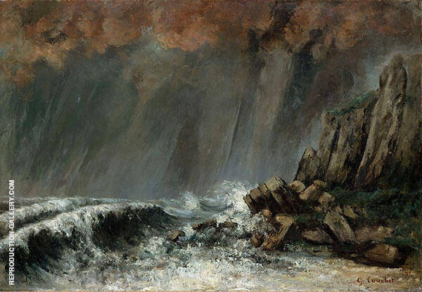 The Waterspout Etretat ca.1870 By Gustave Courbet