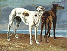 The Greyhounds of the Comte de Choiseul 1866 By Gustave Courbet
