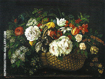 Flowers in a Basket 1863 By Gustave Courbet