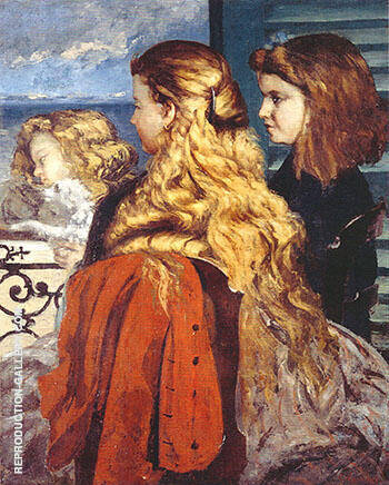 Three English Girls at a Window 1865 By Gustave Courbet