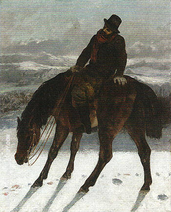 Hunter on Horseback Recovering the Trail 1863-64 By Gustave Courbet
