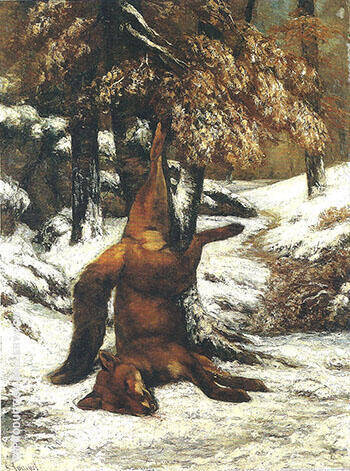 Dead Fox Hanging from a Tree in the Snow 1864 By Gustave Courbet - Oil Paintings & Art Reproductions - Reproduction Gallery