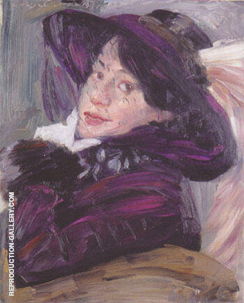 Portrait of a Lady with a Lilac Hat 1912 By Lovis Corinth