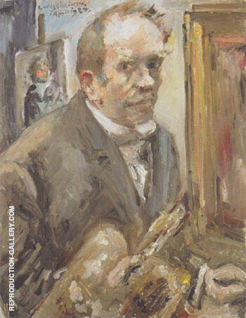 Self Portrait with Palette 1924 By Lovis Corinth