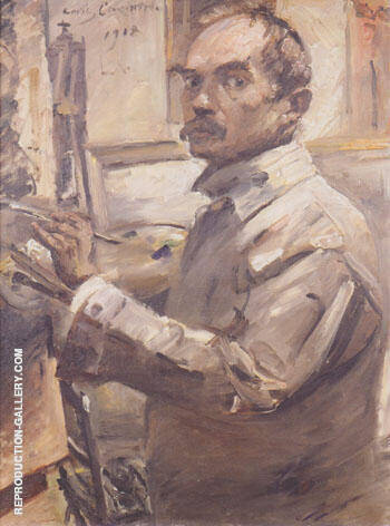 Self Portrait in White Smock 1918 By Lovis Corinth - Oil Paintings & Art Reproductions - Reproduction Gallery