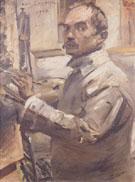 Self Portrait in White Smock 1918 By Lovis Corinth