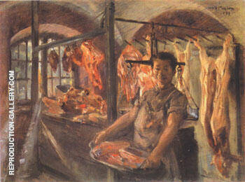 Butcher's Shop in Schaftlarn on the Isar 1897 Painting By Lovis Corinth