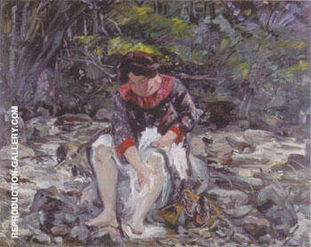 Girl in the Brook 1913 By Lovis Corinth - Oil Paintings & Art Reproductions - Reproduction Gallery